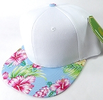 Floral Snapback Caps Wholesale - Sky Blue Hawaiian Hibiscus - White Crown
