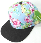 Floral Snapback Caps Wholesale - Sky Blue Hawaiian Hibiscus - Black Brim