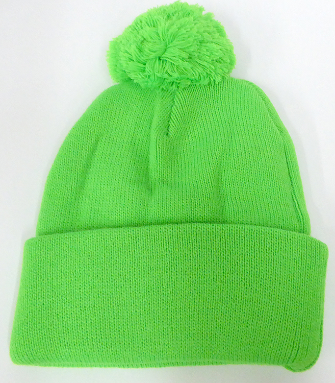 a98003ce7075b Home   BEANIES   WINTER HATS   Pom Pom Beanies Wholesale Hats - Neon Green