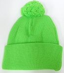 Pom Pom Beanies Wholesale Hats - Neon Green
