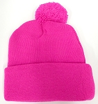 Pom Pom Beanies Wholesale Hats - Neon Hot Pink