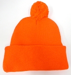 Pom Pom Beanies Wholesale Hats - NeonOrange