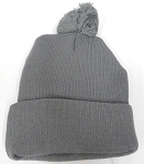 Beanies Wholesale | Pom Pom Beanies Trendy Winter Hats - SOLID  D, Gray