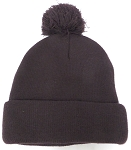 Beanies Wholesale | Pom Pom Beanies Trendy Winter Hats - SOLID  Brown