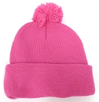 Beanies Wholesale | Pom Pom Beanies Trendy Winter Hats - SOLID  Hot Pink