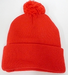 Beanies Wholesale | Pom Pom Beanies Trendy Winter Hats - SOLID  Red