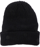Wholesale Winter Knit Long Cuff Beanie Hats - Solid Black