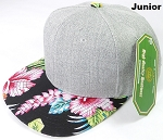 KIDS JUNIOR Bulk Blank Snapback Caps - Grey Denim | Black Hibiscus