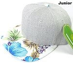 KIDS JUNIOR Bulk Blank Snapback Caps - Grey Denim | White Blue Hibiscus