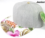 KIDS JUNIOR Bulk Blank Snapback Caps - Grey Denim | White Pink Hibiscus