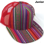 KIDS Junior Aztec Trucker Snapback Caps - Quilt - Red