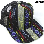 KIDS Junior Aztec Trucker Snapback Caps - Diamonds - Navy