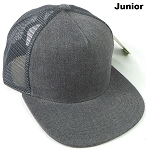 KIDS Junior Denim Trucker Snapback Caps - Charcoal