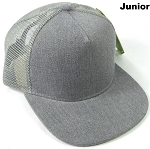 KIDS Junior Denim Trucker Snapback Caps - Heather Grey