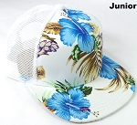 KIDS Junior Floral Trucker Snapback Caps - Hawaiian Hibiscus - White Blue
