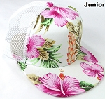 KIDS Junior Floral Trucker Snapback Caps - Hawaiian Hibiscus - White Pink
