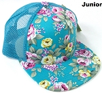 KIDS Junior Floral Trucker Snapback Caps - Turquoise Roses