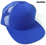 KIDS Junior Plain Trucker Snapback Caps - Royal Blue