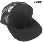 KIDS Junior Plain Trucker Snapback Caps - Black