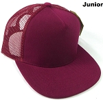KIDS Junior Plain Trucker Snapback Caps - Burgundy