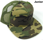KIDS Junior Plain Trucker Snapback Caps - Camo