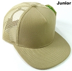 KIDS Junior Plain Trucker Snapback Caps - Khaki