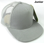 KIDS Junior Plain Trucker Snapback Caps - Light Grey
