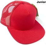 KIDS Junior Plain Trucker Snapback Caps - Red