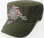 Wholesale Native Pride Cadet Cap - Floral Dreamcatcher - Olive Green