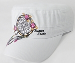 Wholesale Native Pride Cadet Cap - Floral Dreamcatcher - White