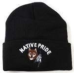 Wholesale Native Pride Long Cuff Beanie - Wolf Feather - Black