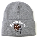 Wholesale Native Pride Long Cuff Beanie - Wolf Feather - Gray