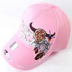 Wholesale Native Pride Baseball Cap - Buffalo Skull - Pink