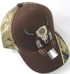 Wholesale Native Pride Baseball Cap - Buffalo Skull -Brown and H. Camo