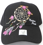 Wholesale Native Pride Baseball Cap - Rose Dreamcatcher - Black