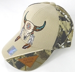 Wholesale Native Pride Baseball Cap - Buffalo Skull - Khaki and H. Camo