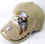 Wholesale Native Pride Baseball Cap - Eagle and Two Feathers - Khaki
