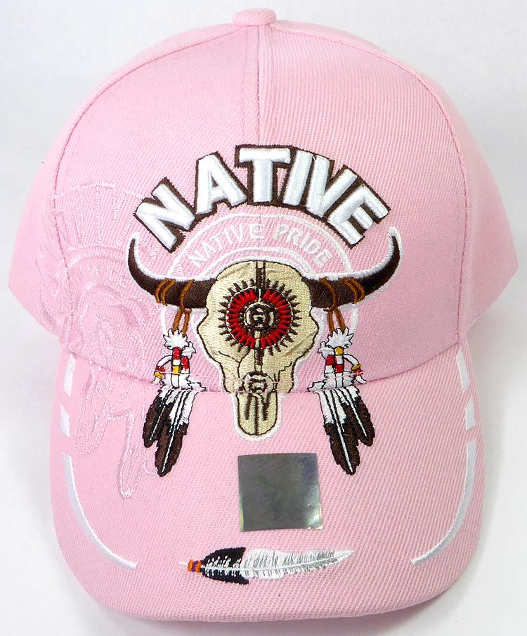 0e73a954c6ea8 Wholesale Native Pride Baseball Cap - Buffalo Skull - Pink