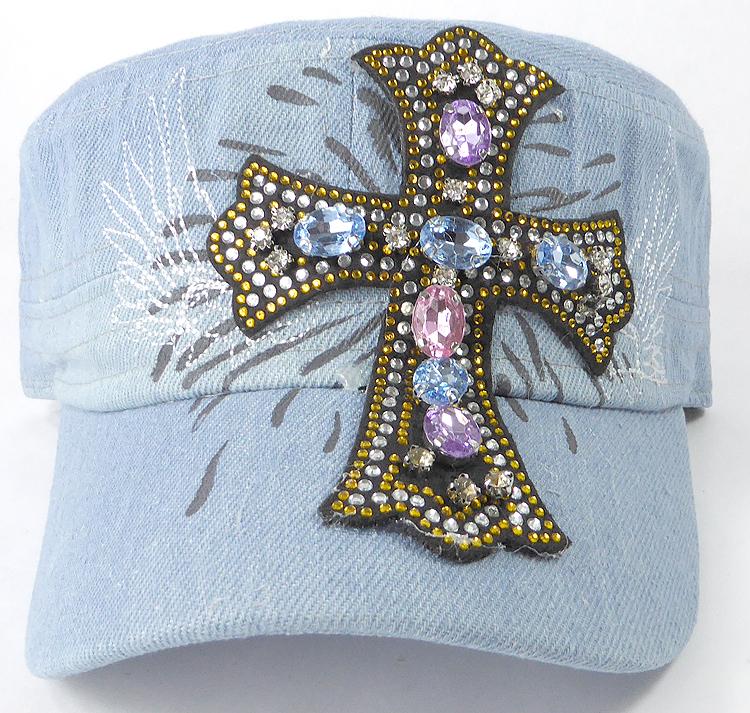 6697378ab Wholesale Rhinestone Women's Cadet Hats - Angelic Cross - Light Stone
