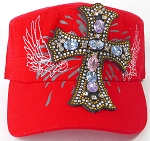 Wholesale Rhinestone Women's Cadet Hats - Angelic Cross - Red