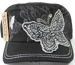 Wholesale Distressed Rhinestone Butterfly Cadet Hats - Black