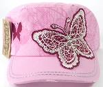 Wholesale Distressed Rhinestone Butterfly Cadet Hats - Light Pink