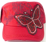 Wholesale Distressed Rhinestone Butterfly Cadet Hats - Red