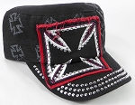 Wholesale Rhinestone Cadet Hats - Chopper - Black