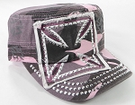 Wholesale Rhinestone Cadet Hats - Chopper - Pink Camo
