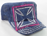 Wholesale Rhinestone Cadet Hats - Chopper - Splash Dark Denim