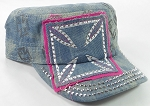 Wholesale Rhinestone Cadet Hats - Chopper - Splash Light Denim