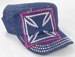 Wholesale Rhinestone Cadet Hats - Chopper - Dark Denim