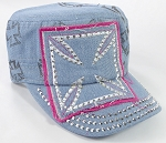 Wholesale Rhinestone Cadet Hats - Chopper - Light Denim