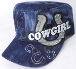 Wholesale Rhinestone Cowgirl Bling Cadet Hats - Dark Splash Denim